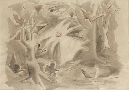 Paule Vezelay (1892-1984) Sun and Trees at Grasse 38 x