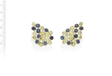 SAPPHIRE AND YELLOW DIAMOND EARRINGS
