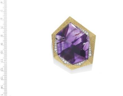 GRIMA: AMETHYST AND DIAMOND PENDANT, CIRCA 1970