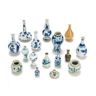 A GROUP OF FIFTEEN DOLL'S HOUSE MINIATURE VASES AND ONE