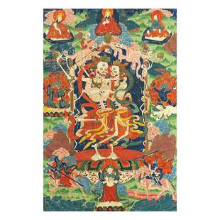 A BLUE AND GREEN GROUND 'CITIPATI' THANGKA Tibet, 19th
