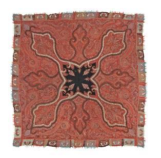 A Qajar Embroidered Wool Shawl Kerman, 19th Century