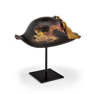 A lacquer jingasa (war hat) Edo period (1615-1868),