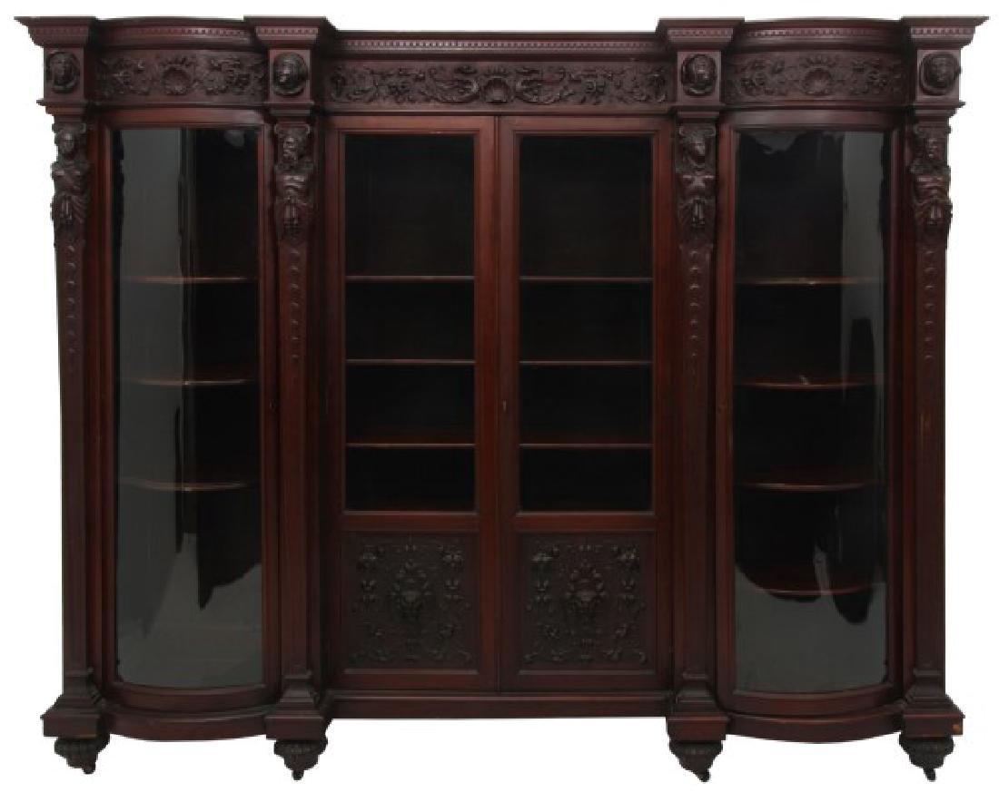 R.J. Horner 4 Door Figural Mahogany Bookcase