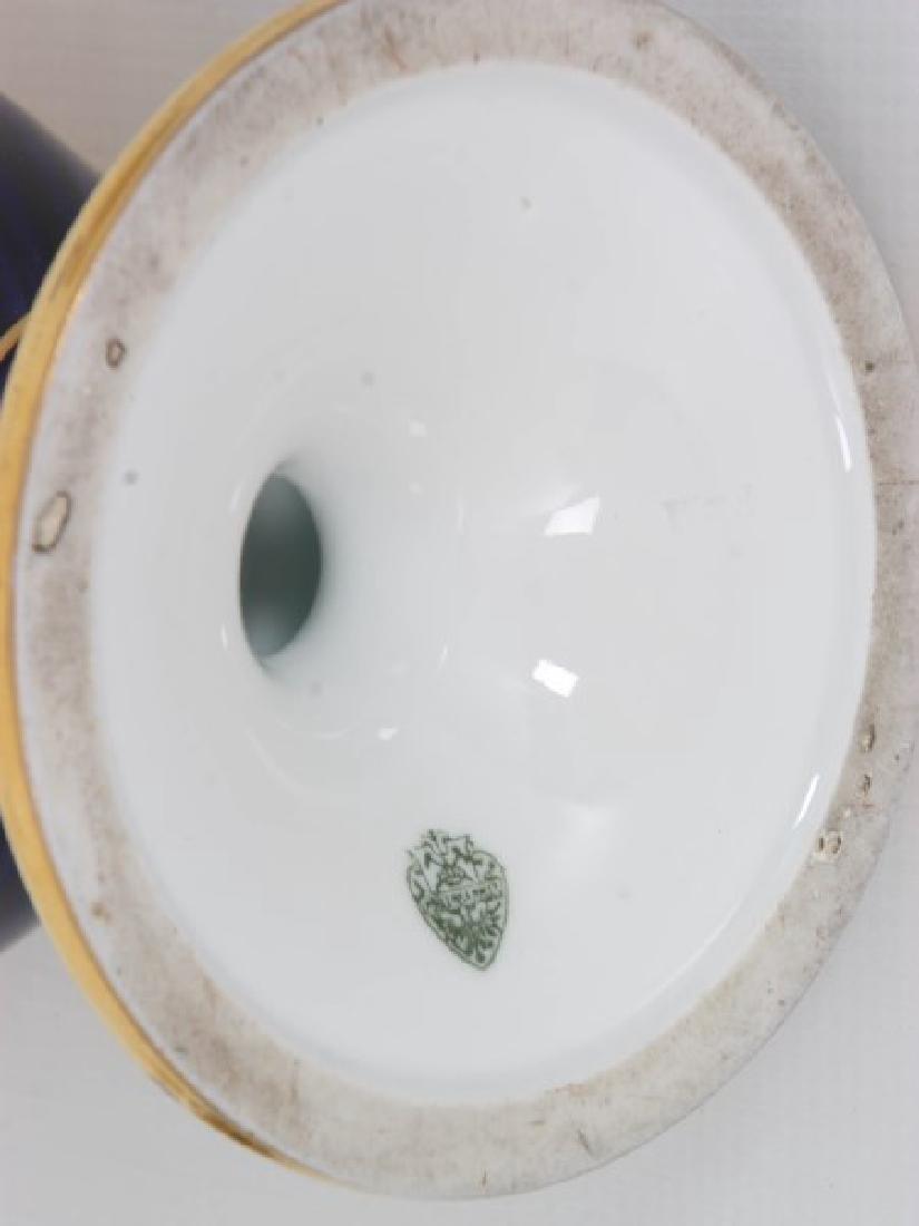 Pr. Austrian Porcelain Covered Cobalt Urns - 10