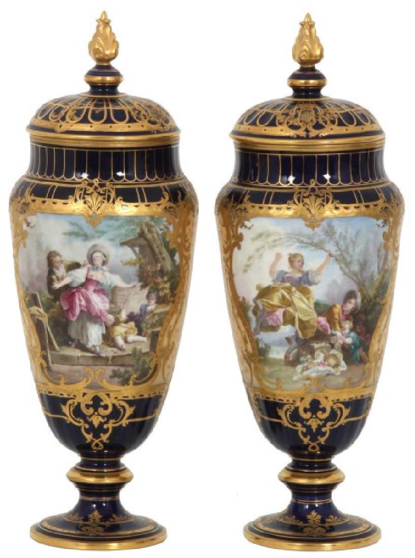 Pr. Austrian Porcelain Covered Cobalt Urns