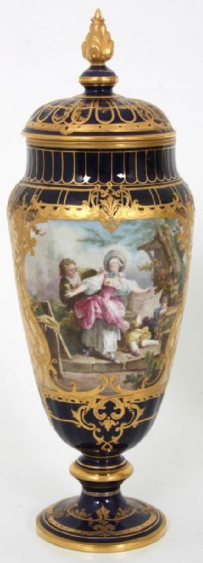 Pr. Austrian Porcelain Covered Cobalt Urns - 2