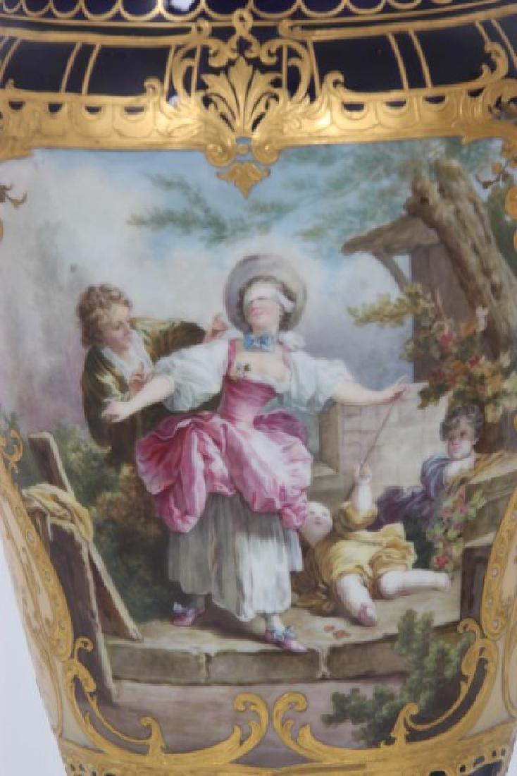 Pr. Austrian Porcelain Covered Cobalt Urns - 3