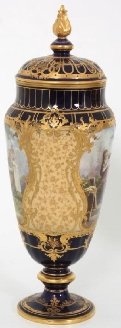 Pr. Austrian Porcelain Covered Cobalt Urns - 5