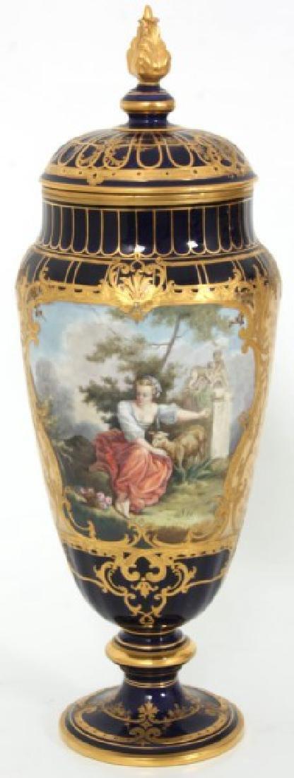 Pr. Austrian Porcelain Covered Cobalt Urns - 6