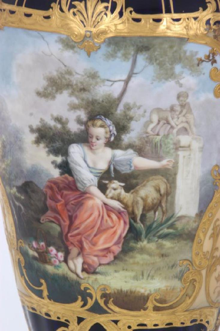 Pr. Austrian Porcelain Covered Cobalt Urns - 7