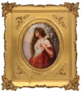 Hand Painted Porcelain Portrait Plaque