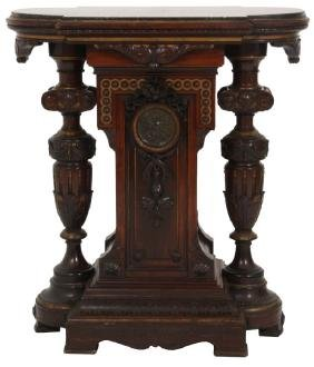 Attr: Herter Bros. Rosewood Marble Top Pedestal