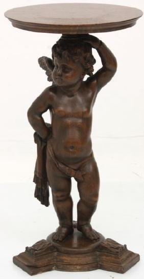 Attr. Horner Carved Oak Winged Putti Plant Stand