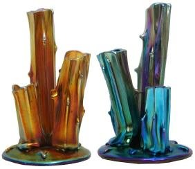 2 Steuben Aurene Triple Tree Trunk Vases