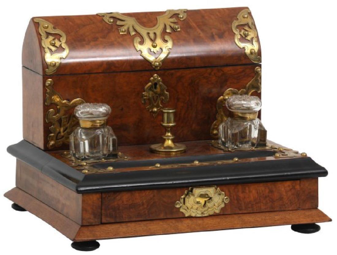 Brass Mounted Burl Walnut Travel Desk