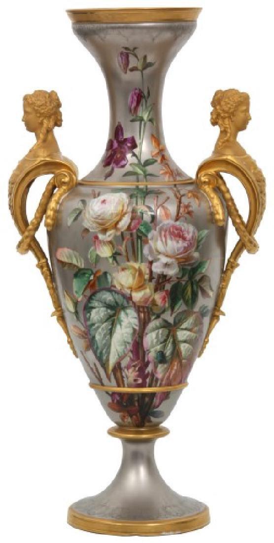 Large Platinum Background Porcelain Vase