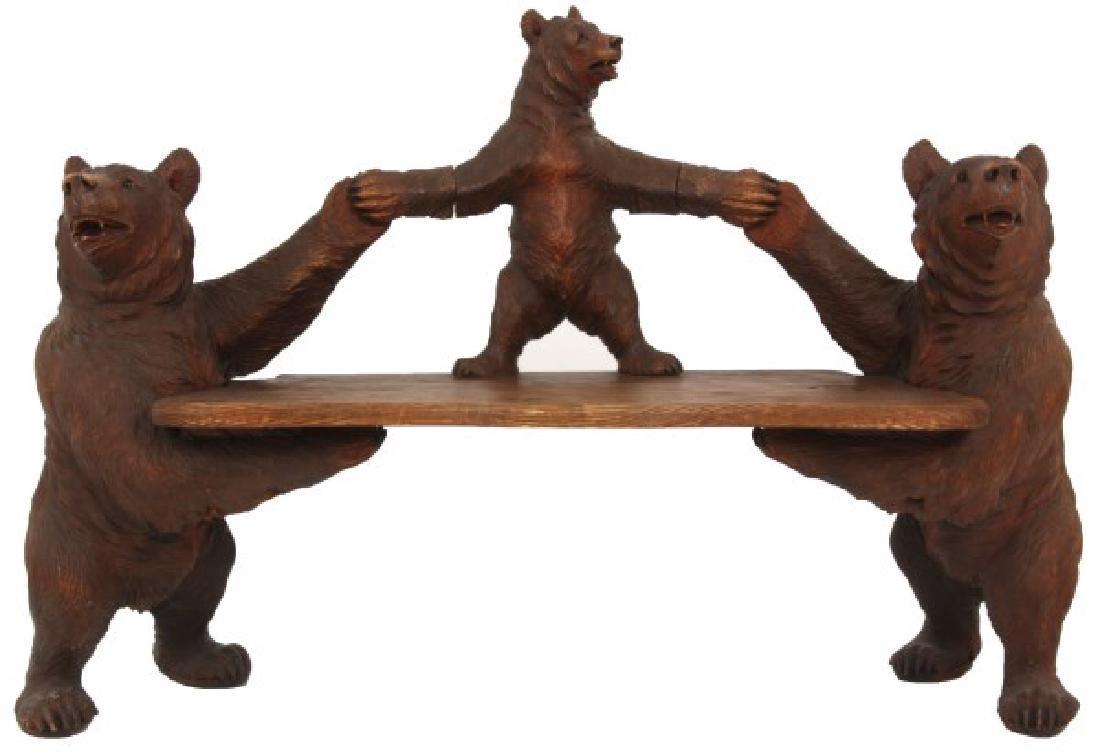 Figural Carved Black Forest Bear Bench