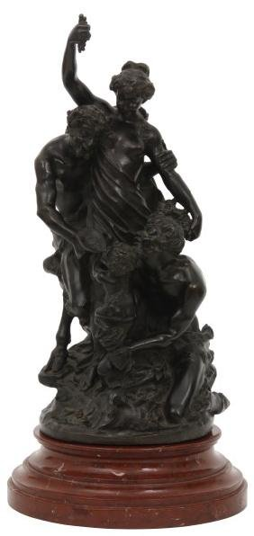 Clodion Bronze Sculpture - L'education de Bacchus