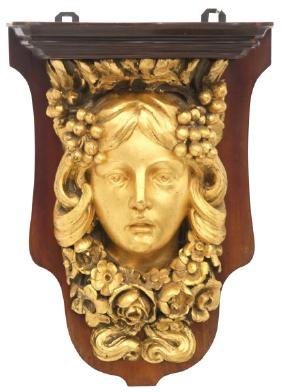 Figural Carved Wall Shelf
