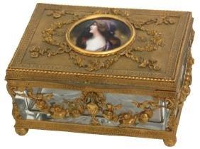Enamel and Brass Mounted Dresser Box