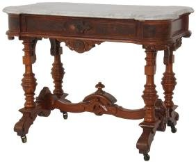 Renaissance Revival Walnut Marble Top Table