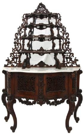 Carved Rosewood Marble Top Etagere