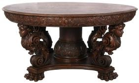 60 in. Oak Figural Dining Table
