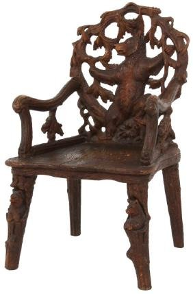 Black Forest Figural Carved Bear Armchair