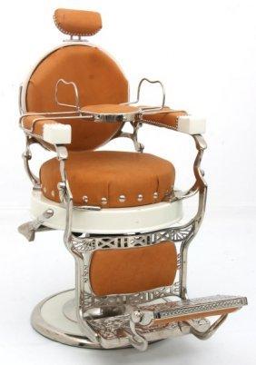 Koken Round Seat Enamel Barber Chair