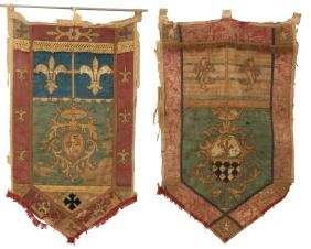 2 Early Silk Tapestry Armorial Banners