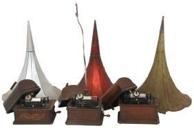 3 Oak Edison Cylinder Phonographs w/ Horns