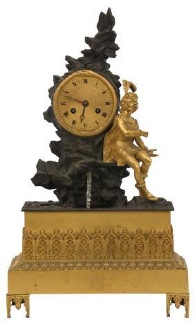 French Bronze Animated Ponce de Leon Clock