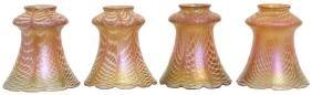 4 Quezal Iridescent Art Glass Shades