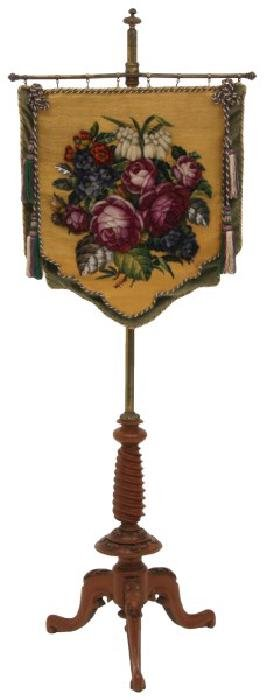 Brass and Mahogany Tapestry Fire Screen