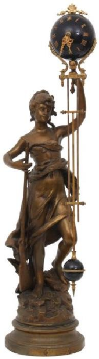 French Figural Mystery Swinger Mantle Clock