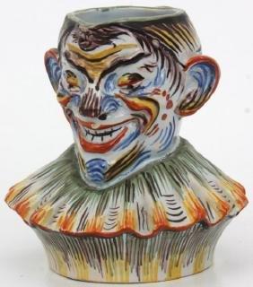 French Fourmaintraux Pottery Clown Pitcher