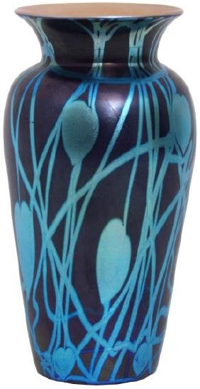 Attr: Durand Blue Leaf And Vine Vase