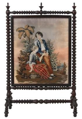 Rosewood Grained and Silk Tapestry Firescreen