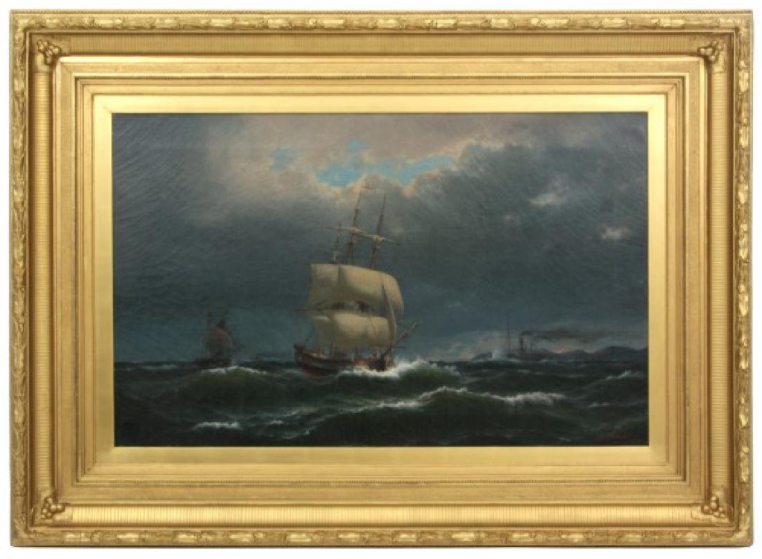 Laurits Holst O/C Seascape With Ships