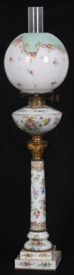 Attr. Dresden Porcelain & Bronze Piano Lamp
