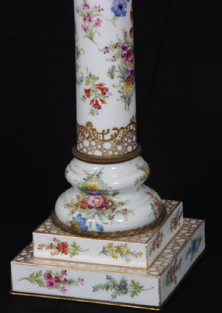 Attr. Dresden Porcelain & Bronze Piano Lamp - 3
