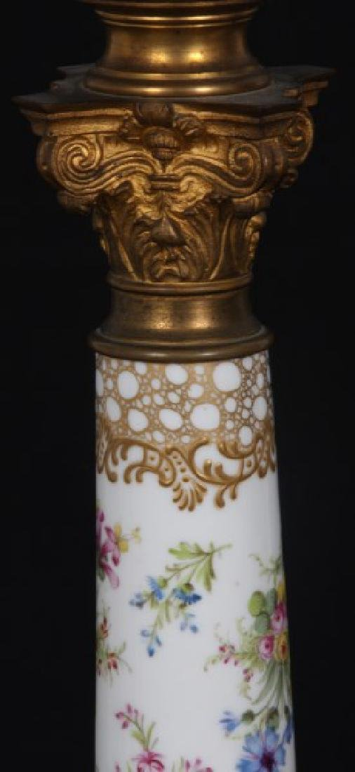 Attr. Dresden Porcelain & Bronze Piano Lamp - 4