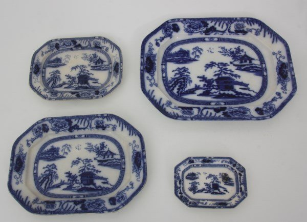 6 Pcs. Flow Blue – Hong Kong Pattern - 6