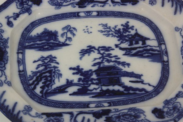 6 Pcs. Flow Blue – Hong Kong Pattern - 7