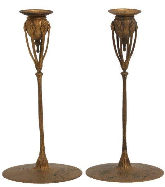 Pr. Tiffany Studios Dore Bronze Candlesticks