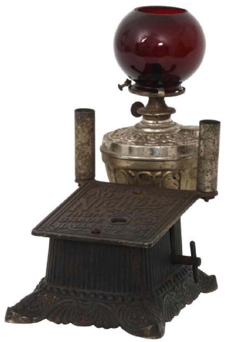 Cast Iron Counter Top Cigar Cutter & Lamp