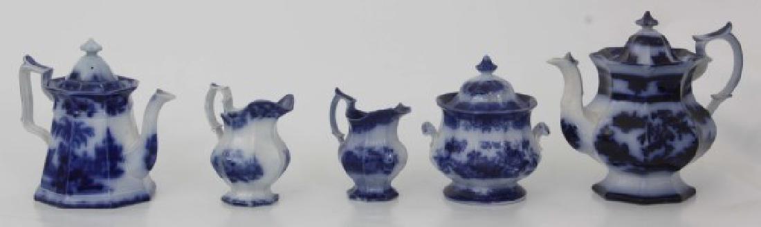 10 Assorted Flow Blue Tea Set Pieces