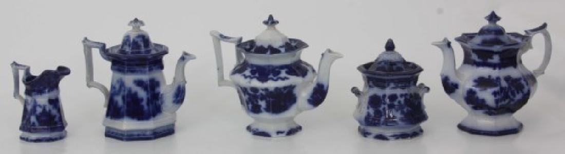 10 Assorted Flow Blue Tea Set Pieces - 2