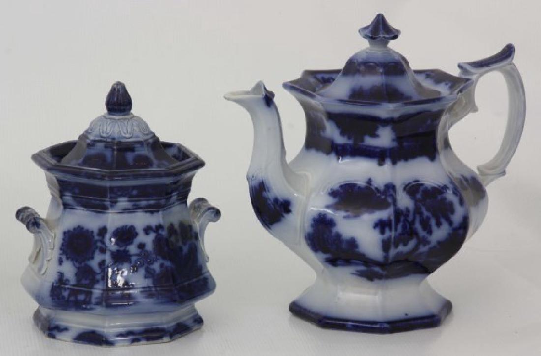 10 Assorted Flow Blue Tea Set Pieces - 6